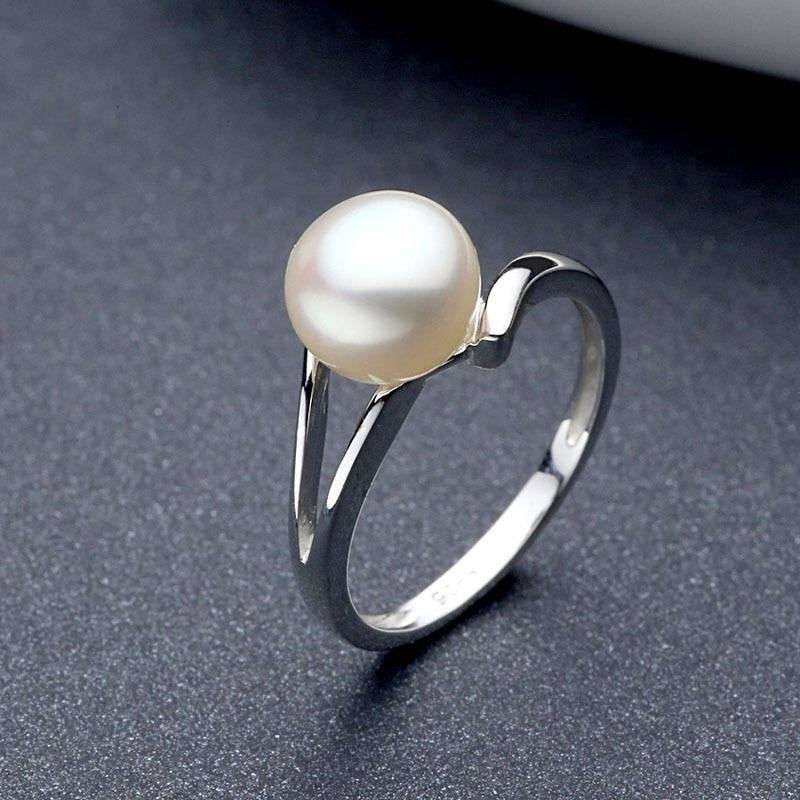 Anillo de boda de perla de plata de ley Sinya 925 para mujeres chicas amante de la perla dia 8mm diseño de moda joyería anillo de compromiso