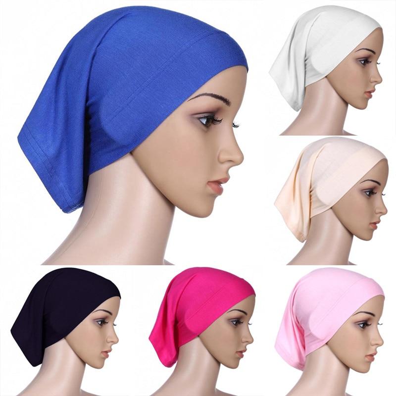 1pc Adjustable Muslim Islamic Arabian Hijab Tube Underscarf Veil Robe Abaya Inner Caps Hats Modal Stretch Elastic 9 Colors
