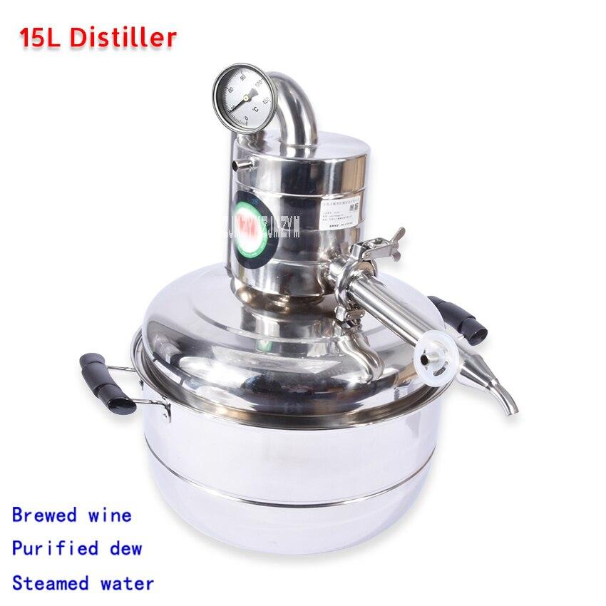 Дистиллятор воды для виски, 15л, Moonshine, нержавеющая сталь, набор для пивоварения, Бытовая Вакуумная дистилляционная бойлер