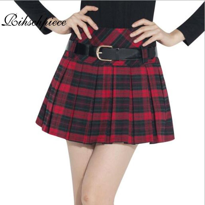 Rihschpiece Lolita Mini jupe femmes Vintage Kilt hiver Tutu jupe femmes Shorts jupes plissées taille haute jupe à carreaux RZF884