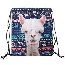 Drawstring Backpack Girls Cinch Sack 3D Printing Llama Swim Kids Shoes Party Bag Cute Gift