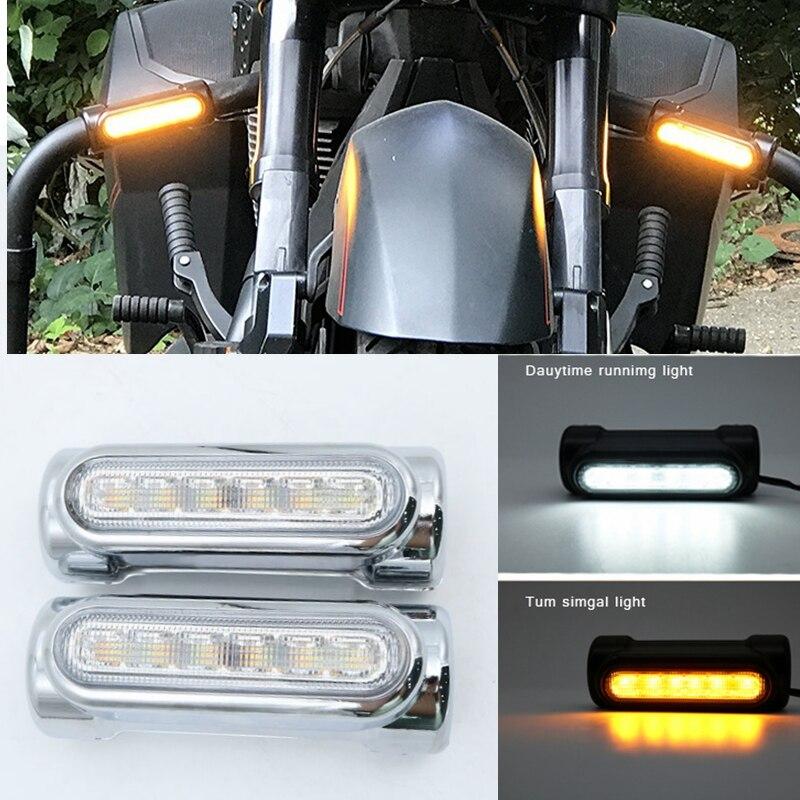 Luces cromadas/negras de la barra de la motocicleta luces de la señal de giro blanco ámbar LED para las barras de choque para las bicicletas de paseo Harley Davidson