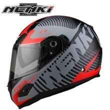 Casque moto Vintage Double visière   1 pièce, NENKI Touring Racing DOT visage complet, moto casque