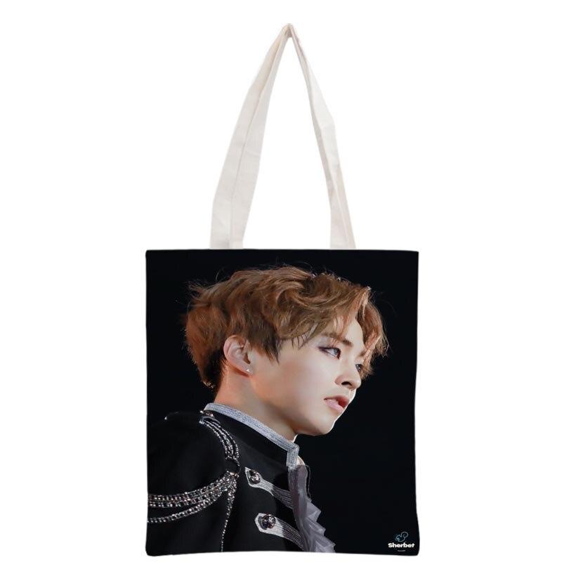 Nuevo llegado personalizado KPOP EXO XIUMIN impreso bolsa de lona bolso de mano de mujer bolsa de viaje de playa bolsa de compras portátil