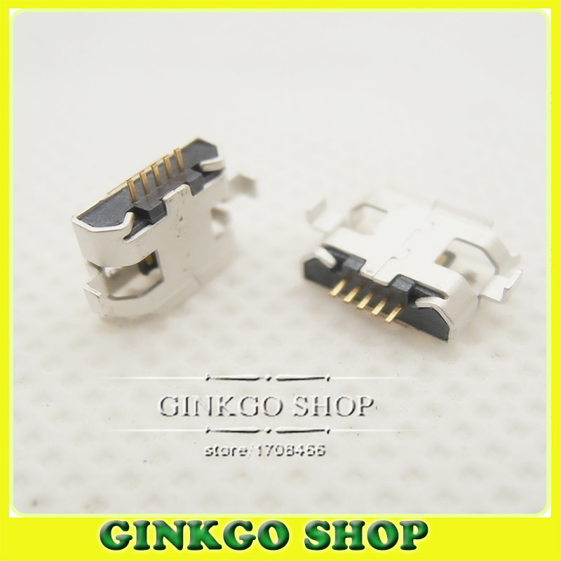 50 Uds Puerto V8 teléfono móvil Micro USB Jack para Motorola ME525/DEFY MB525-pie Curvo