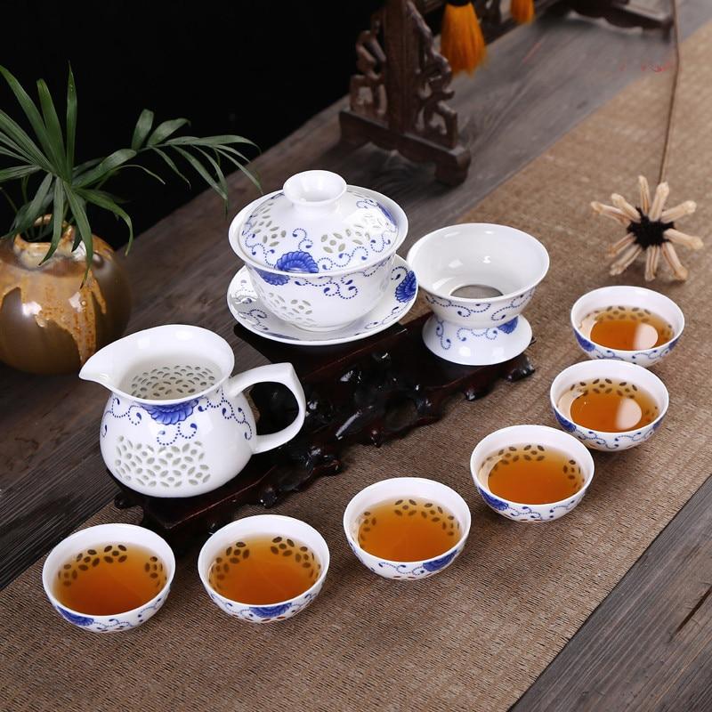 CJ261 Kung Fu 10 unids/set juego de té taza de té de cerámica azul y blanco tetera China de hueso té mar servicio de té