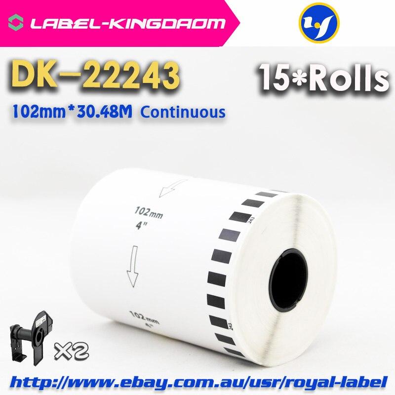 15 عبوة رولز متوافق DK-22243 التسمية 102 مللي متر * 30.48M المستمر متوافق لأخيه QL-1060 تسمية طابعة الأبيض DK2243