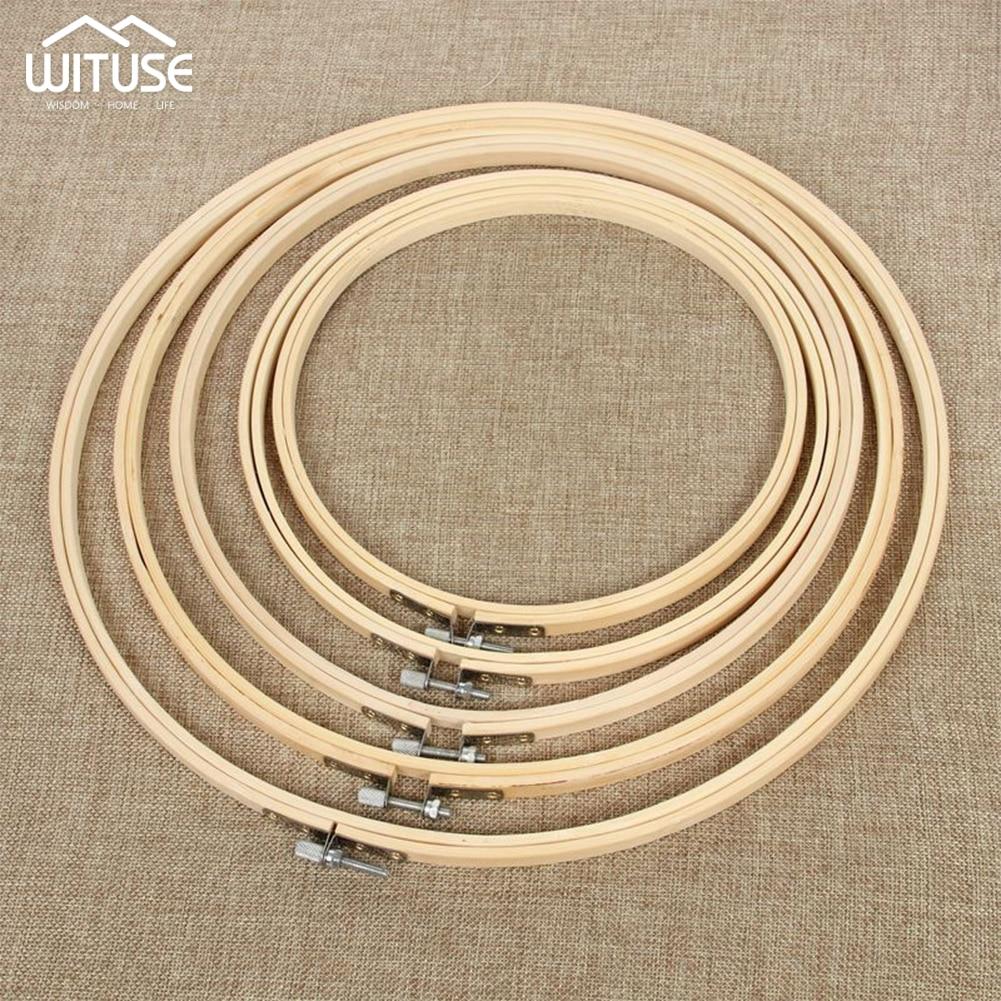 1 Uds 13-26cm de madera mano utensilio para bordado de punto de cruz bordado aro marco de bambú bordado aro redondo bordado herramientas de costura