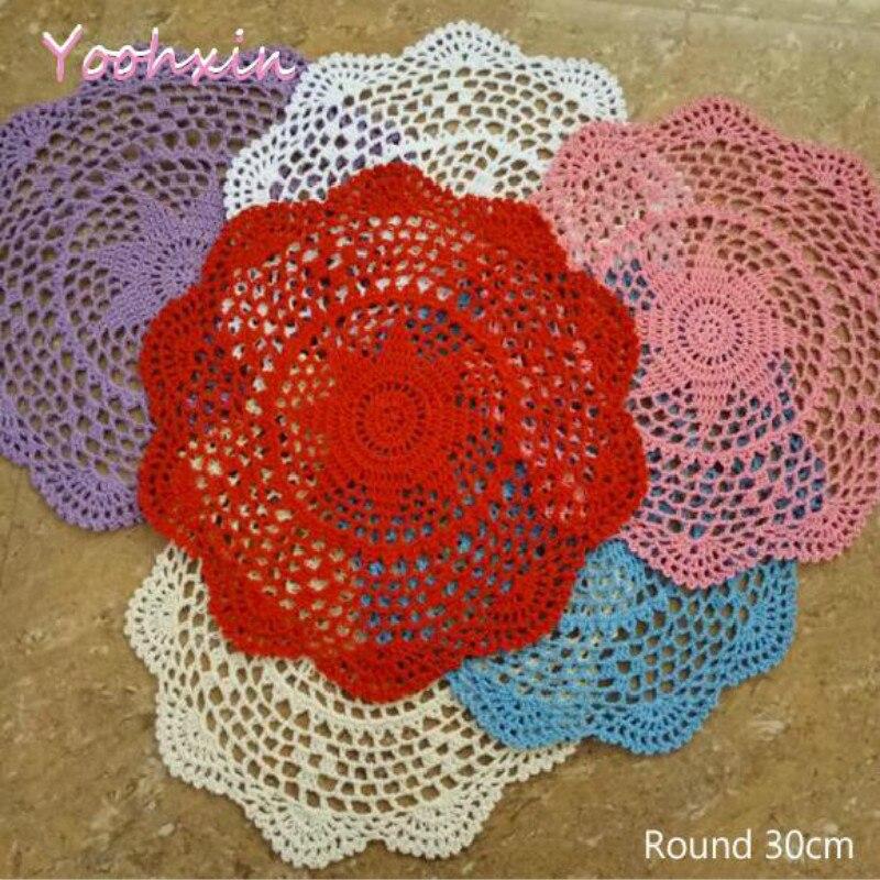 30 CM redondo nuevo diseño hecho a mano de algodón de ganchillo mantel de encaje tazas de té de mesa cubierta de comedor Navidad boda decoración de comedor