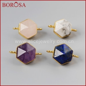 BOROSA 10Pcs/lot Drusy Gold Bezel Hexagon Terminated Point Multi-Kind Stones Faceted Connector Double Bails Jewelry G0998