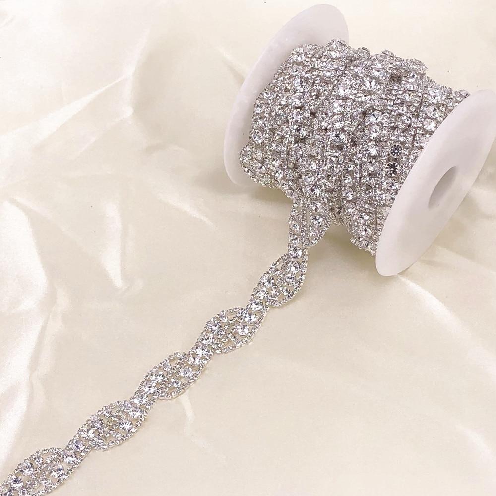 Cadena de corte de cristal plateado de 1 yarda para vestido de novia cadena de cristal decorativa