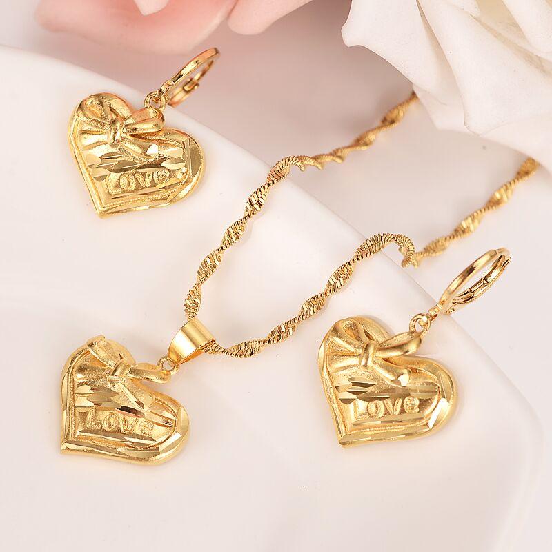 24 K oro amarillo lleno de amor encantador corazón collar pendiente conjunto mujeres conjuntos de joyería PNG Dubai mejor regalo