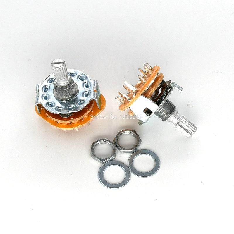 2 pçs/lote RS25 3P4T Potenciômetro Com Eixo da Chave de Montagem Em Painel 3 Pólo 4 Posição Rotary Selector Switch Banda