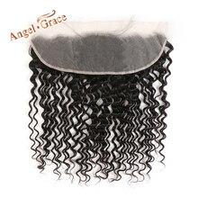 Perruque Lace Frontal wig Remy brésilienne – ANGEL GRACE, cheveux naturels, Deep Wave, couleur naturelle, 13x4, oreille à oreille, partie libre du milieu
