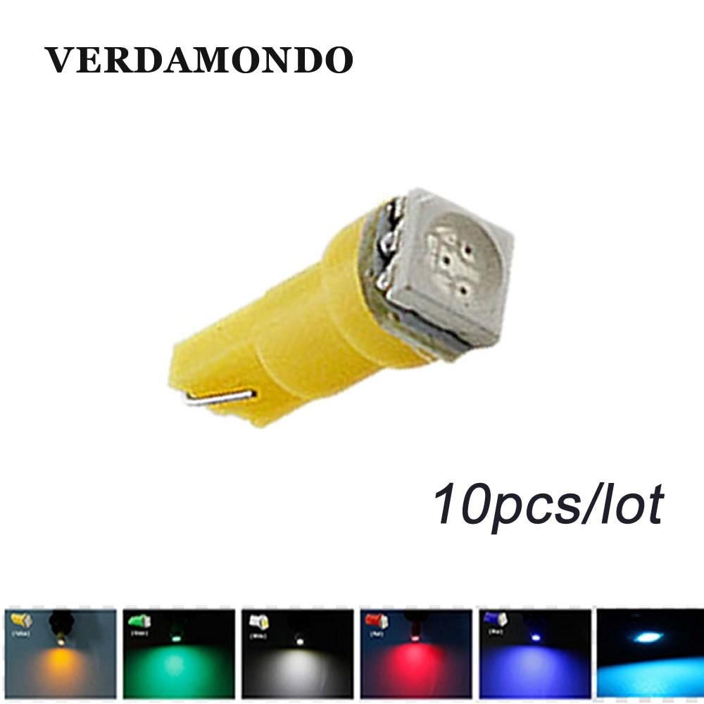 10 pçs t5 5050 1smd cunha carro lâmpada led interior dashboard calibre luz lâmpadas branco azul verde gelo azul vermelho amarelo