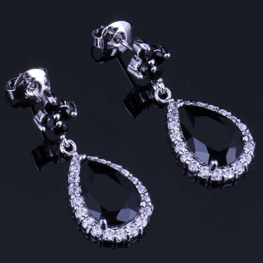 Fantastic Water Drop Black Cubic Zirconia White CZ Silver Plated Drop Dangle Earrings V0746