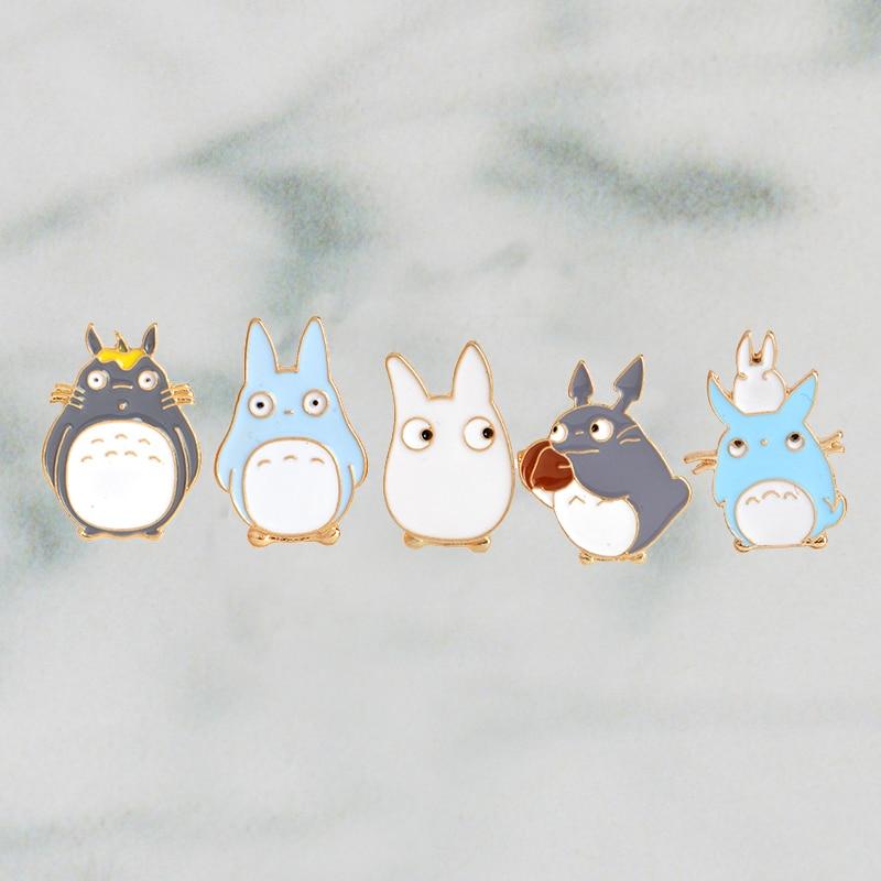 5pcs/set Japanese Anime Miyazaki Hayao Kawaii Cartoon My Neighbor Totoro Brooches Pins Girl Jeans Bag Decoration For Friend