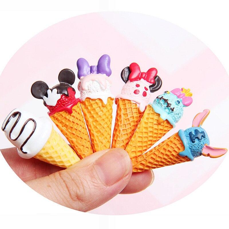 5Pc/lot Kawaii Resin Cabochon Cartoon Miniature Ice Cream Resin Cabochons Fake Food DIY Embellishment Decoration Crafts Supplies