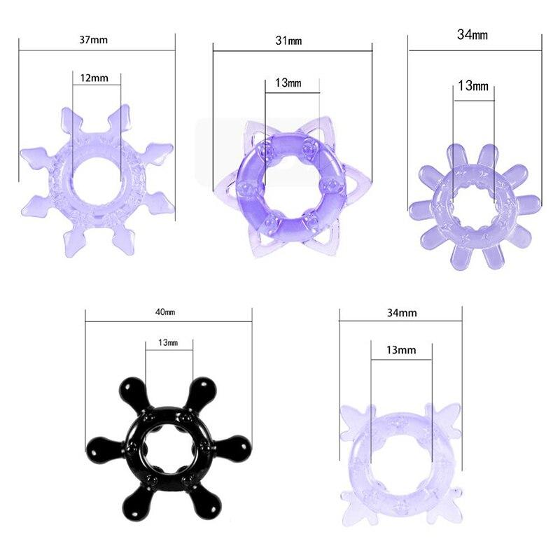 5 uds Crystal multa de bloqueo por retraso pene de silicona sexo masculino adulto producto manga pene anillo extensor de pene juguetes sexuales