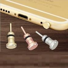 Metal Phone 2 in 1 Sim Card Tray Eject Pin Tool & 3.5mm Earphone Jack Dust Plug Dustproof Cap Gadget