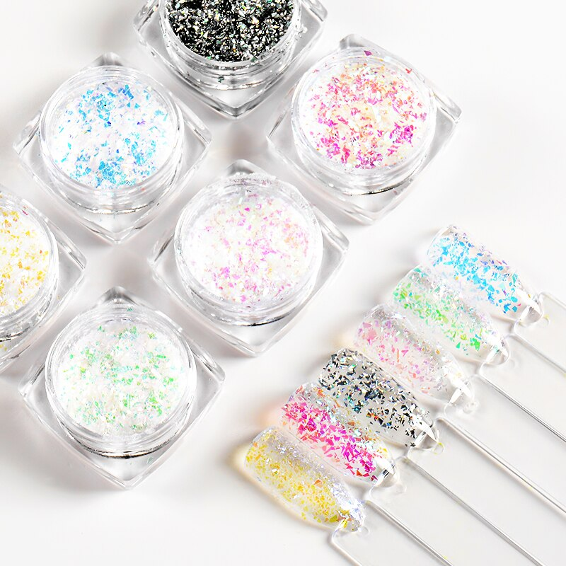 T-TIAO CLUB 1g Mixed Size Nail Glitter Sequin 3D Sparkly Shinny Flakes Powder Paillettes DIY Flake Nail Art Decorations недорого