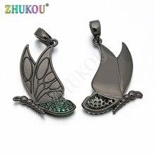 16*28mm laiton cubique zircone papillon charmes pendentifs bijoux à bricoler soi-même résultats accessoires, trou 2.5mm, modèle VD215