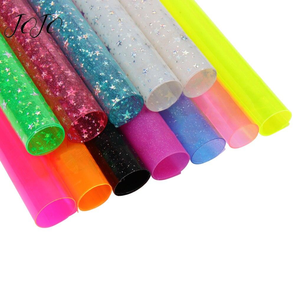 Hoja de punto impreso de lazos de Jojo sintética de PVC transparente de 22*30cm Tela de cuero para tocados de moños para el cabello DIY