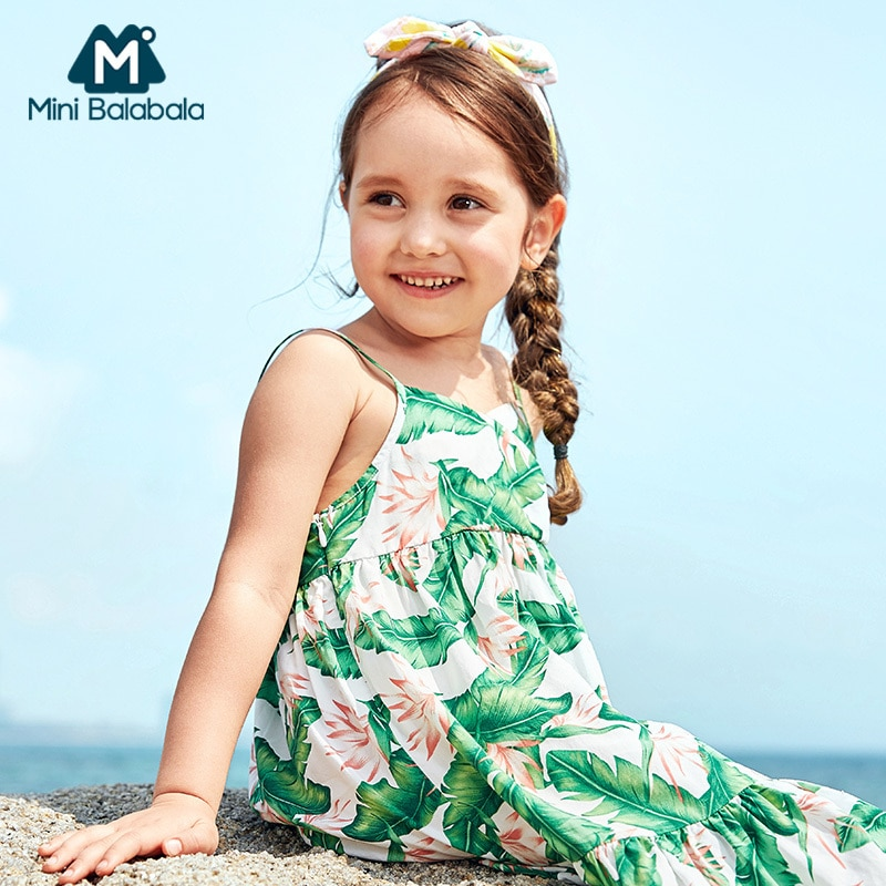 MiniBalabala Girl Sleevelss dekolt w szpic sukienka tropikalny nadruk dzieci Kid Girl sukienki plażowe letnie sukienki letnie