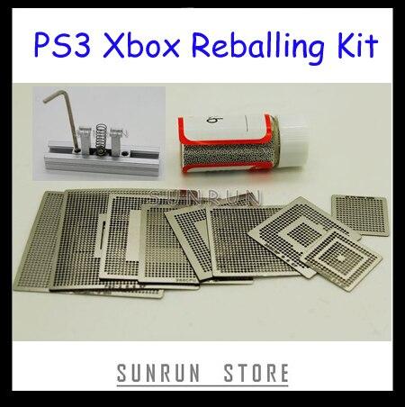 9 Uds Xbox PS3 plantillas de Reballing + 1 botella 0,6mm 25K Bola de soldadura + 1 pieza de estación de Reballing con calefacción directa
