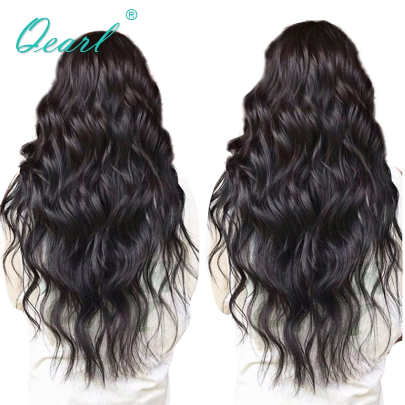 Pelucas de encaje completo qpearl, cabello humano con cabello de bebé, pelucas de encaje de pelo Remy ondulado 130% 150% 180% densidad, línea de pelo Natural pre-desplumado