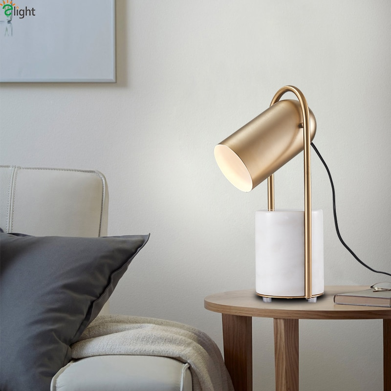 Nordic Lustre Marble Led Table Lights Gold Metal Bedroom Led Table Lamp Living Room Led Table Light Office Led Desk Lamp Fixture