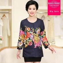 Afdrukken lente herfst nieuwe middelbare leeftijd oudere vrouwen moeder mode plus size elegante jas jas lady causale hoge kwaliteit G56