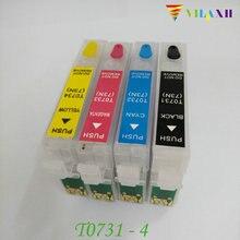Vilaxh T0731 cartucho de Tinta Recarregáveis Para Epson Stylus TX210 TX410 CX4900 CX3900 TX200 CX7300 CX8300 CX3905 CX4905 CX5500 CX5600