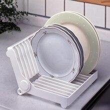 kitchen accessories organizer White Color Rein Folding Plate Draining Rack Dish Storage Rack Dish Drying Rack Kitchen Organizer
