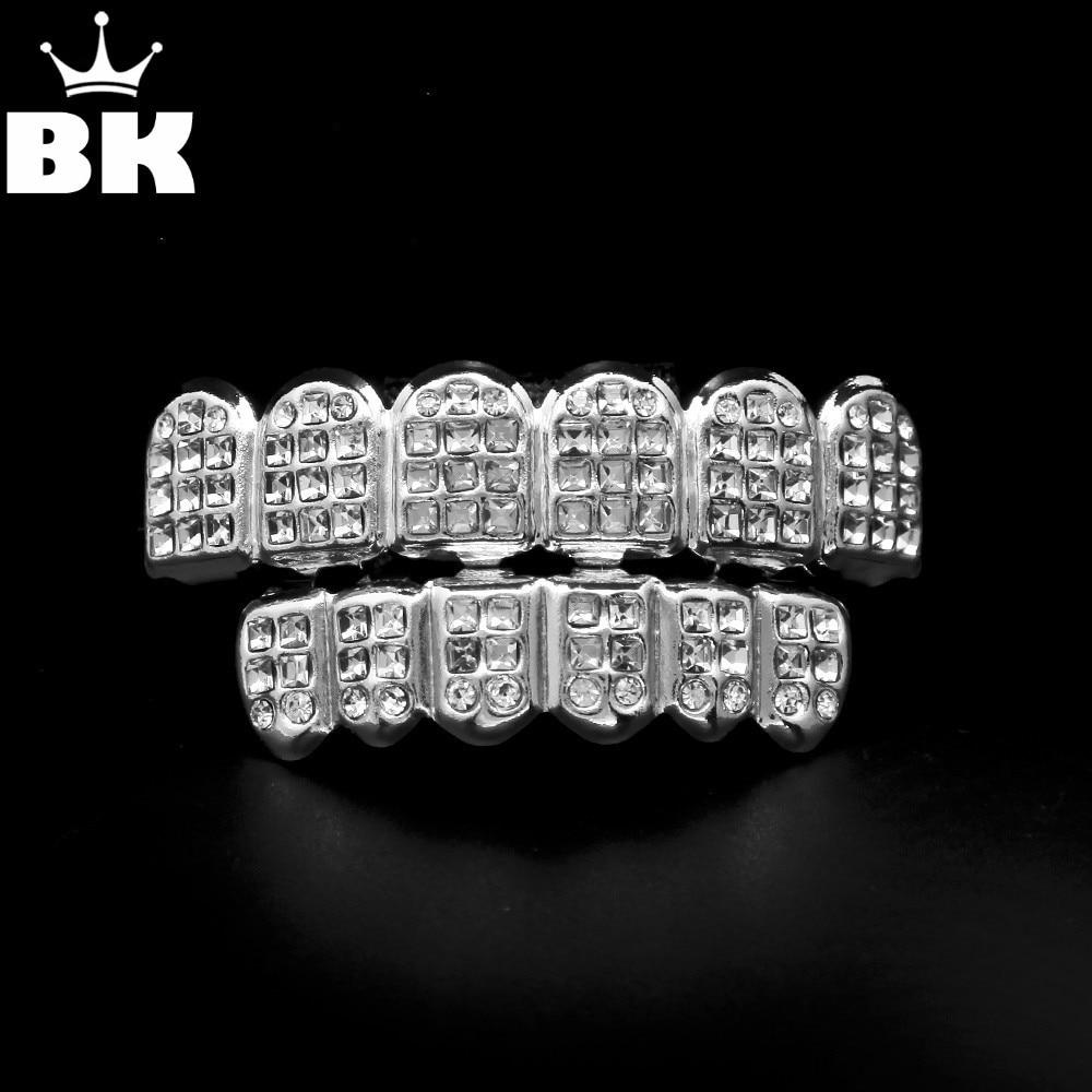 Набор для гриля JOKER Tooth BlingGrillz, белый золотой ледяной фианит с бриллиантами