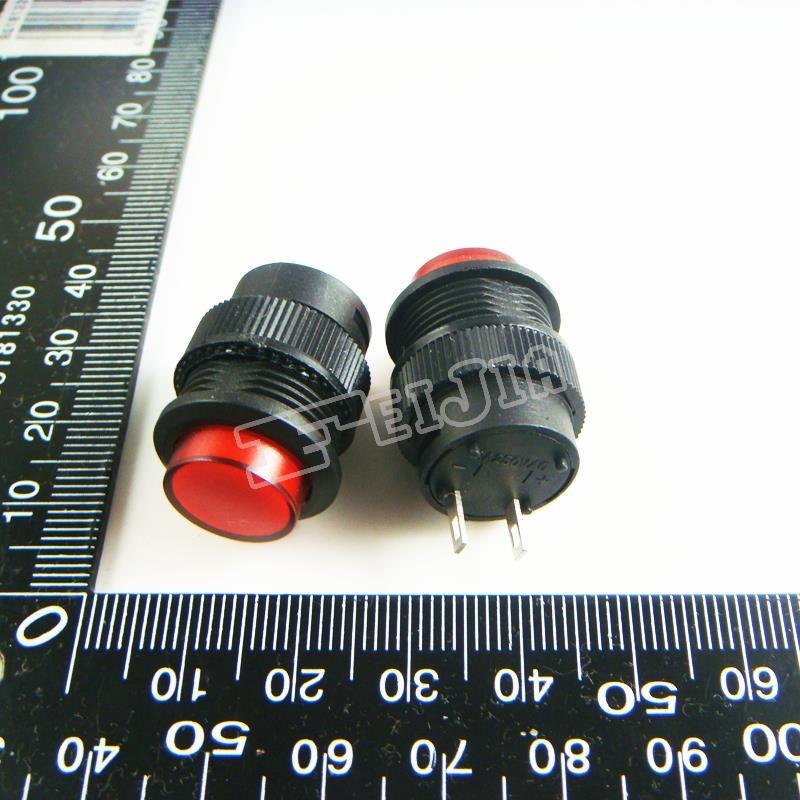 R16-503B زر اللون الأحمر 1A/250V 2Pin غير الذاتي قفل زر التبديل (الذاتي إعادة التبديل) 100 قطعة/الوحدة