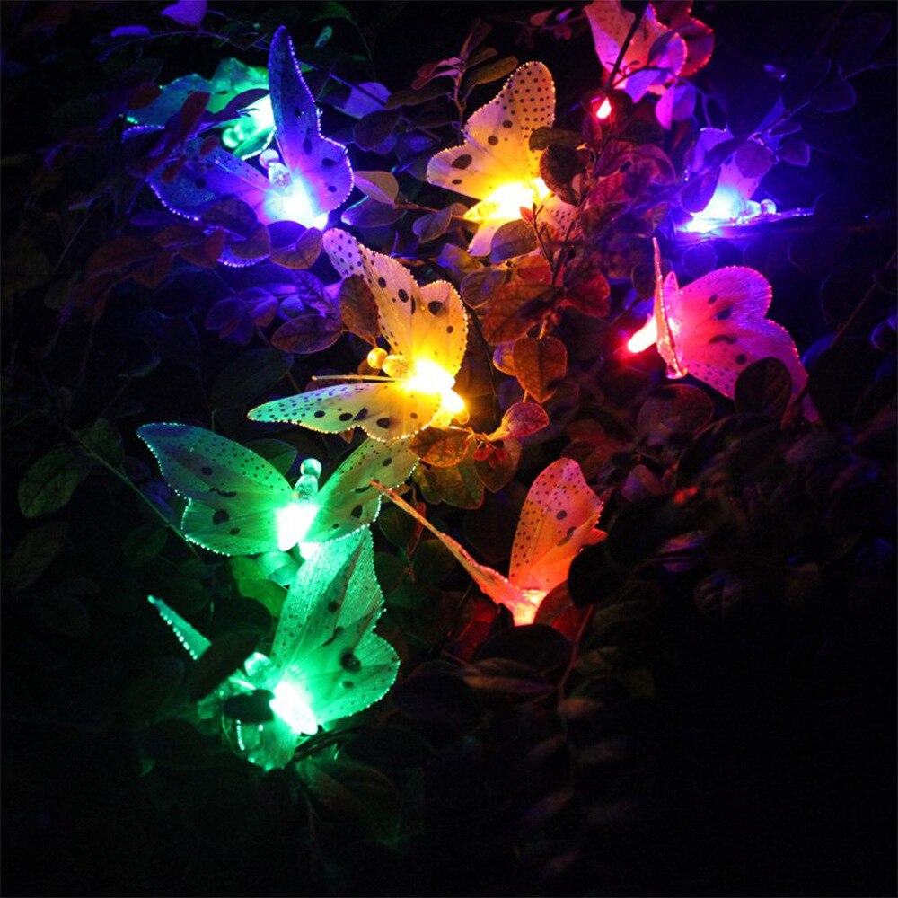 12 LED Solar Powered Butterfly Light Fiber Optic Fairy String Outdoor Garden Lights Lamp Holiday Festival Party Wedding Decor