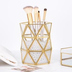 New Luxury Gold Makeup Organizer Exquisite Makeup Brush Display Box Cosmetics Tools Storage Holder