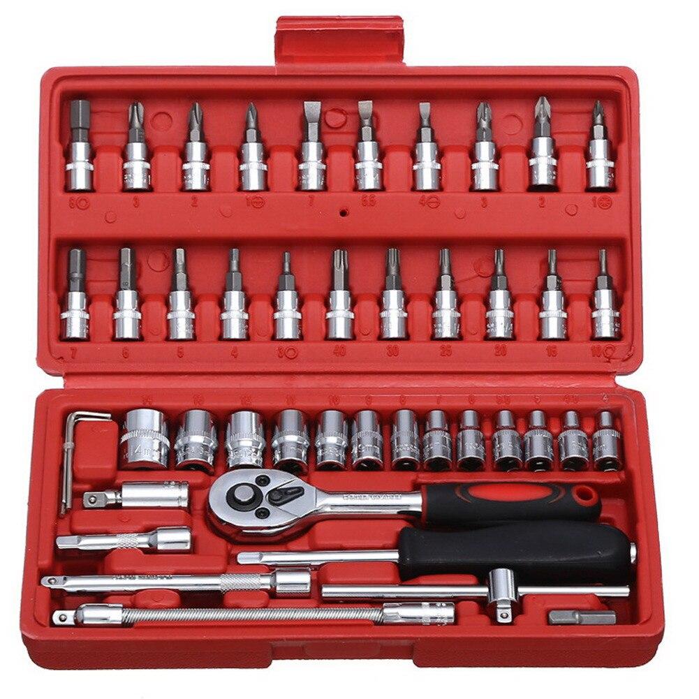 46 pçs 1/4-Polegada conjunto de soquete ferramenta de reparo do carro conjunto de catraca chave de torque conjunto de bits combinação de chaves cromo vanádio ferramentas conjunto