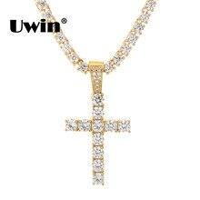 Uwin hommes Micro AAA CZ cubique zircone croix pendentif à breloque 3mm CZ chaînes de Tennis collier bijoux de mode cadeaux de noël