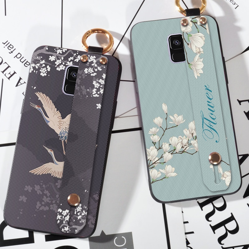 Nuevos estuches de flores y pájaros para Samsung A8 A9 Star, correa de silicona suave para Samsung Galaxy A5 A6 A7 A8 Plus 2016 2017 2018