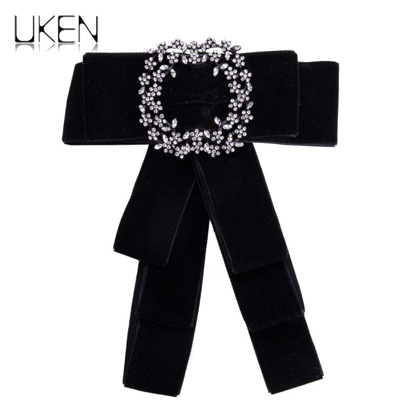 UKEN Fashion Rhinestone Bow Brooches For Women Ribbon Broche Pin Necktie Bowknot Statement Tie Brooch Collar Accessories