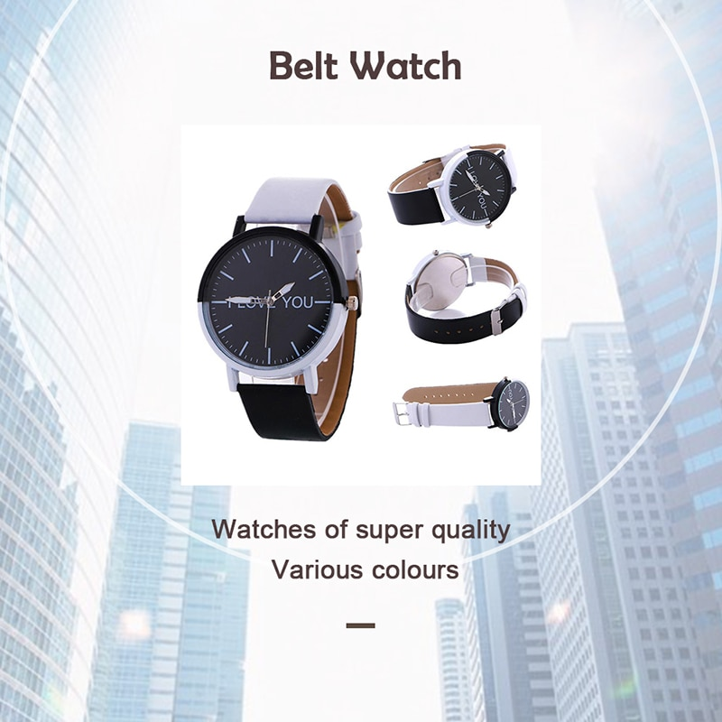 1 Pcs Business Simple Watches I Love You Lovers Unisex Watches Fashion Black White Pu Leather Watch