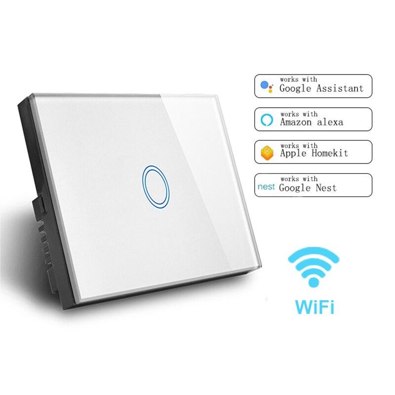 Padrão dos eua 1/2/3 gang 1 way wifi interruptor de toque única linha ao vivo com alexa google ewelink nenhum interruptor de linha neutra