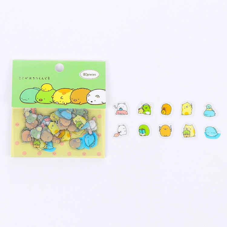 80 pcs/pack Cute Cat Mini PVC Sticker Cartoon Sumikko Gurashi Decoration DIY Ablum Diary Scrapbooking Label Sticker Stationery