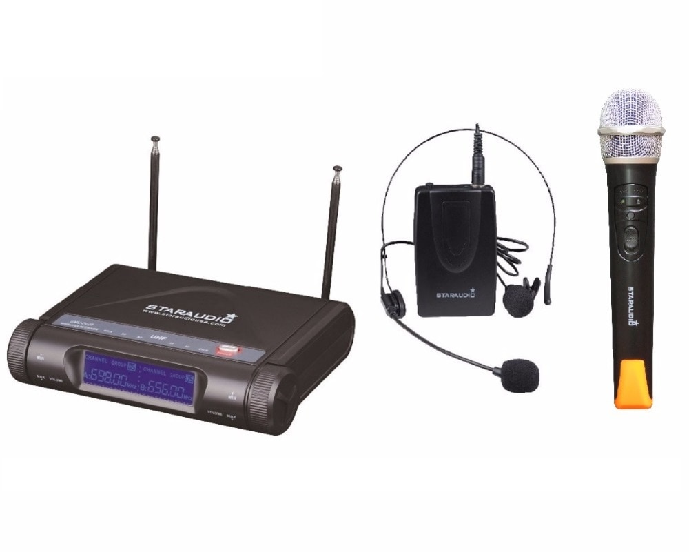 2 Channel UHF Wireless Microphone System 1CH Handheld Mic 1CH Headset Bodypack Easy To Set Mic For Church Events SMU-2020A+B