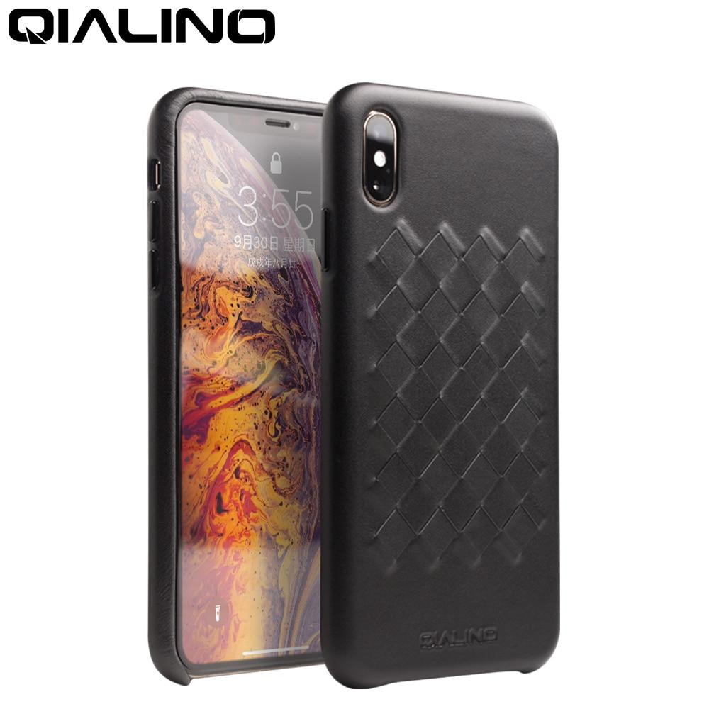 Funda QIALINO de lujo de cuero genuino para iPhone X/XS cubierta trasera ultrafina tejida a mano para iPhone XR/XS Max 5,8/6,1/6,5 pulgadas