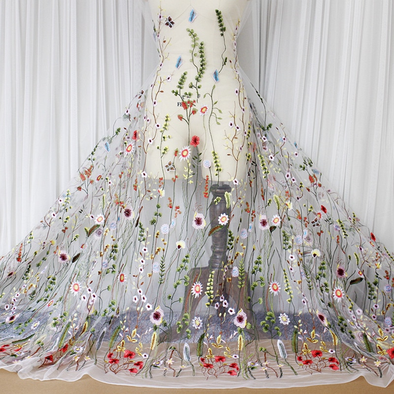 50cm * 130cm 3D Floral bordado tul tela textil malla Material Flor de encaje nupcial Top 10 boda tela para vestido