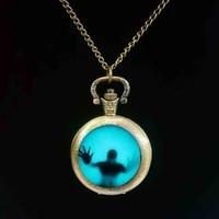 blue walking dead pocket watch charm steampunk 1pcslot mens vintage chain vintage watch