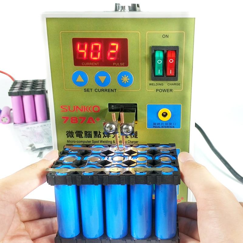 SUKKO LED de batería de pulso soldador por puntos 787A + máquina de soldadura Micro-ordenador 18650 micro de soldadura con luz LED + abrazadera